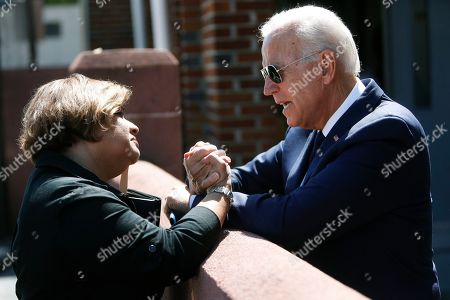 Democratic presidential candidate former Vice President Joe Biden greets supporter Mayra Rivera-Vazquez, after the funeral for Majority Whip Jim Clyburn's wife, Emily Clyburn, at Morris Brown AME Church, in Charleston, S.C