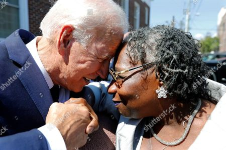 Democratic presidential candidate former Vice President Joe Biden greets supporter Rose Delores Gibbs after the funeral for Majority Whip Jim Clyburn's wife, Emily Clyburn, at Morris Brown AME Church, in Charleston, S.C
