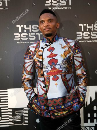 Former soccer player Samuel Eto'o arrives to attend the Best FIFA soccer awards, in Milan's La Scala theater, northern Italy, . Netherlands defender Virgil van Dijk is up against five-time winners Cristiano Ronaldo and Lionel Messi for the FIFA best player award and United States forward Megan Rapinoe is the favorite for the women's award