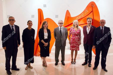 (L-R) Co-curator of the exposition and artistic director of Picasso Museum in Malaga, Jose Lebrero Stals; co-curators Claire Garnier and Emilia Philippot; president of Unicaja Foundation, Braulio Medel (C); regional Culture and Patrimony councellor of Andalusia, Patricia del Pozo; president of Calder Foundation, Alexander S.C. Rower; and president of the patronage of Picasso Museum, Bernard Ruiz-Picasso, attend the opening of the exhibition 'Calder-Picasso' at the Picasso Museum in Malaga, Spain, 23 September 2019. The exhibition will be open to public from 24 September 2019 to 02 February 2020.