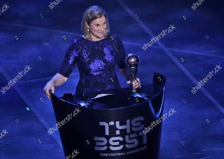 United States women's World Cup winning coach Jill Ellis receives the Best FIFA award during the ceremony of the Best FIFA Football Awards, in Milan's La Scala theater, northern Italy