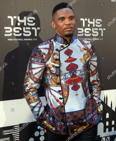 Picture made available 24 September 2019 of former Cameroon international and Barcelona forward Samuel Eto'o arriving for the Best FIFA Football Awards 2019 in Milan, Italy, 23 September 2019.