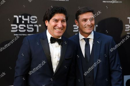 Picture made available 24 September 2019 of former Inter Milan players Ivan Zamorano (L) and Javier Zanetti arriving for the Best FIFA Football Awards 2019 in Milan, Italy, 23 September 2019.