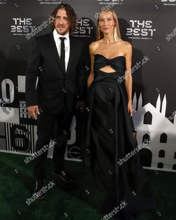 Picture made available 24 September 2019 of former Spanish spoccer player Carles Puyol (L) and his girl friend Vanessa Lorenzo arriving for the Best FIFA Football Awards 2019 in Milan, Italy, 23 September 2019.