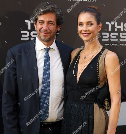 Picture made available 24 September 2019 of former former Italian international Demetrio Albertini (L) and his wife Uriana Capone arriving for the Best FIFA Football Awards 2019 in Milan, Italy, 23 September 2019.