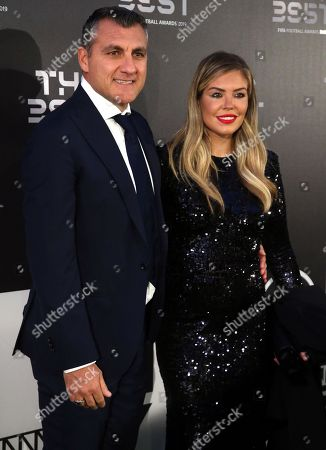 Picture made available 24 September 2019 of former former Italian international Christian Vieri (L) and partner Costanza Caracciolo arriving for the Best FIFA Football Awards 2019 in Milan, Italy, 23 September 2019.