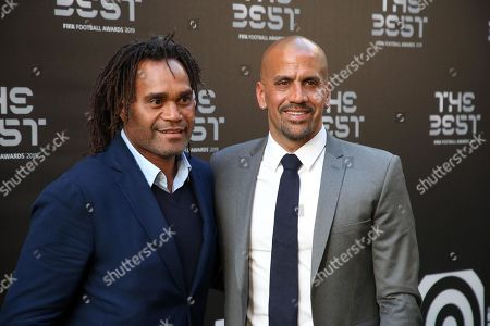 Picture made available 24 September 2019 of former French international Christian Karembeu (L) and former Argentinian international Juan Sebastian Veron arriving for the Best FIFA Football Awards 2019 in Milan, Italy, 23 September 2019.