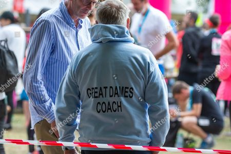 Stock Image of Lord Jeffrey Archer at the race in Cambridge in which his wife took part.Lord Archer had tendonitis and was struggling to stand and walk.