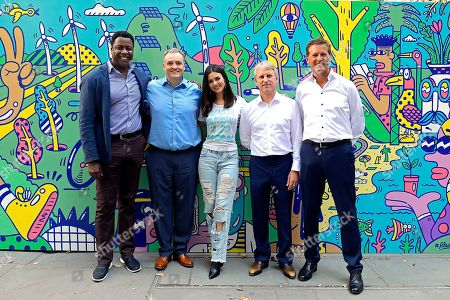 Stock Photo of L-R) President Mars Wrigley North America, Anton Vincent, Vice President, Corporate Affairs, Strategic Initiatives and Sustainability, Andy Pharoah, Actress and singer, Victoria Justice, Chairman, Stephen Badger and Chief Sustainability Officer, Barry Parkin pose for a photo after unveiling a large-scale climate action mural pop-up in New York City's Bryant Park, to launch the #PledgeForPlanet initiative. Designed by renowned artist Steven Harrington and commissioned by Mars, Incorporated, the mural illustrates what the world could look like if we all took urgent climate action to limit global temperature rise to 1.5°C