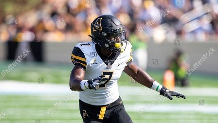 Appalachian State's Josh Thomas defends during an NCAA college football game in Chapel Hill, N.C