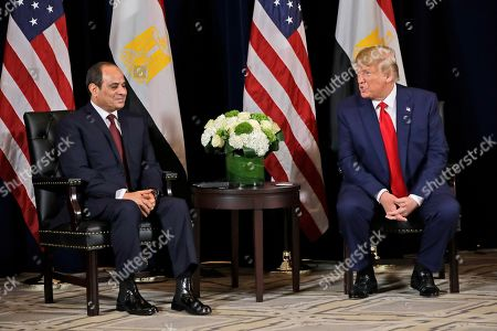President Donald Trump meets with Egyptian President Abdel-Fattah el-Sisi at the InterContinental Barclay hotel during the United Nations General Assembly, in New York