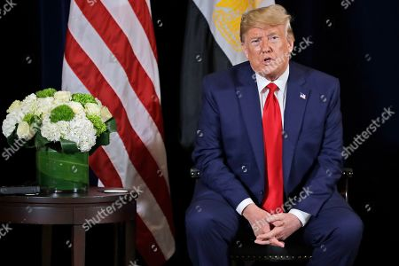 President Donald Trump speaks as he meets with Egyptian President Abdel-Fattah el-Sisi at the InterContinental Barclay hotel during the United Nations General Assembly, in New York