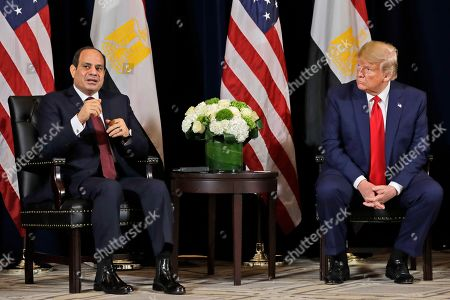 Egyptian President Abdel-Fattah el-Sisi speaks as he meets with President Donald Trump at the InterContinental Barclay hotel during the United Nations General Assembly, in New York