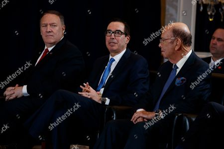 Mike Pompeo, Steve Mnuchin, Wilbur Ross. Secretary of State Mike Pompeo, left, and Commerce Secretary Wilbur Ross, right, listen as Treasury Secretary Steve Mnuchin speaks during a meeting between President Donald Trump and Egyptian President Abdel-Fattah el-Sisi at the InterContinental Barclay hotel during the United Nations General Assembly, in New York