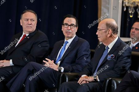 Secretary of State Mike Pompeo, left, and Commerce Secretary Wilbur Ross, right, listen as Treasury Secretary Steve Mnuchin speaks during a meeting between President Donald Trump and Egyptian President Abdel-Fattah el-Sisi at the InterContinental Barclay hotel during the United Nations General Assembly, in New York