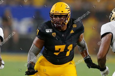 Arizona State offensive lineman Steven Miller (71) performs in the first half during an NCAA college football game against Colorado, in Tempe, Ariz
