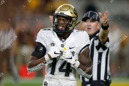 Colorado cornerback Chris Miller (14) performs in the first half during an NCAA college football game against Arizona State, in Tempe, Ariz