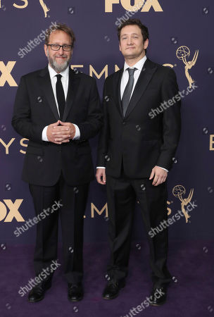 Josh Siegal, Dylan Morgan. Josh Siegal, and Dylan Morgan arrive at the 71st Primetime Emmy Awards, at the Microsoft Theater in Los Angeles