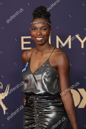 Sasheer Zamata arrives at the 71st Primetime Emmy Awards, at the Microsoft Theater in Los Angeles