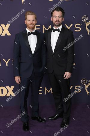 Stock Picture of Alexander Buono, Rhys Thomas. Alexander Buono, left, and Rhys Thomas arrive at the 71st Primetime Emmy Awards, at the Microsoft Theater in Los Angeles