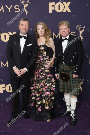 Charlie Brooker, Annabel Jones, Russell McLean. Charlie Brooker, from left, Annabel Jones, and Russell McLean arrive at the 71st Primetime Emmy Awards, at the Microsoft Theater in Los Angeles