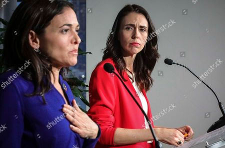 Stock Picture of New Zealand Prime Minister Jacinda Ardern, right, and Facebook COO Sheryl Sandberg, left, hold a news conference, outlining an anti-terror initiative between governments and technology companies called GIFCT--Global Internet Forum to Combat Terrorism, in New York