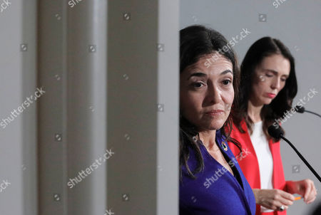 Stock Photo of Facebook COO Sheryl Sandberg, left, and New Zealand Prime Minister Jacinda Ardern, right, hold a news conference outlining an anti-terror initiative between governments and technology companies, in New York