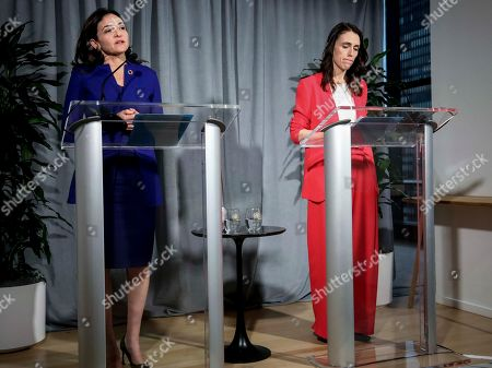 Facebook COO Sheryl Sandberg, left, and New Zealand Prime Minister Jacinda Ardern hold a news conference outlining an anti-terror initiative between governments and technology companies, in New York