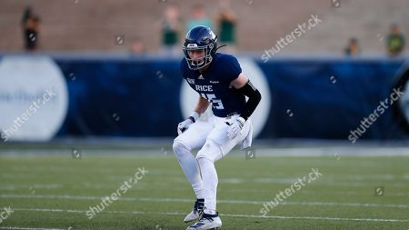 Stock Photo of Rice University defensive back Andrew Bird (15) looks to defend during an NCAA football game on in Houston