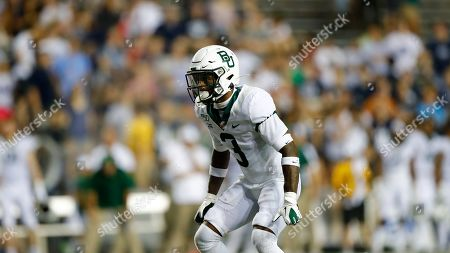 Baylor University defensive back Chris Miller (3) looks toward the action during an NCAA football game on in Houston