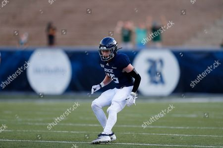 Rice University defensive back Andrew Bird (15) looks to defend during an NCAA football game on in Houston