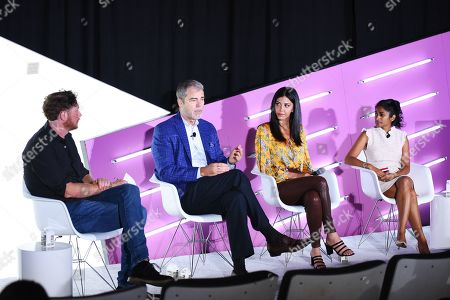 Stock Photo of Brian Baker (Editor, Ad Age), David VanderWaal (Senior Vice President of Marketing, LG Electronics), Christina Ferzli (Director of Global Corporate Affairs, Ocean Spray), and Dhanusha Sivajee (CMO, The Knot Worldwide)