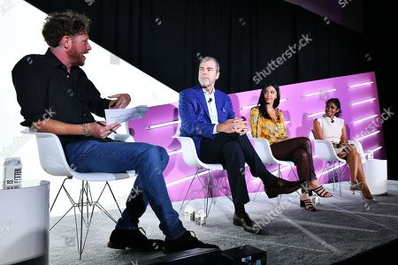 Stock Image of Brian Baker (Editor, Ad Age), David VanderWaal (Senior Vice President of Marketing, LG Electronics), Christina Ferzli (Director of Global Corporate Affairs, Ocean Spray), and Dhanusha Sivajee (CMO, The Knot Worldwide)