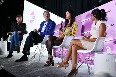 Brian Baker (Editor, Ad Age), David VanderWaal (Senior Vice President of Marketing, LG Electronics), Christina Ferzli (Director of Global Corporate Affairs, Ocean Spray), and Dhanusha Sivajee (CMO, The Knot Worldwide)