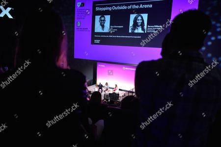 Guru Gowrappan (CEO, Verizon Media), Serena Williams (Olympic Tennis Athlete & Entrepreneur) and Julia Boorstin (Entertainment & Media Correspondent, CNBC)