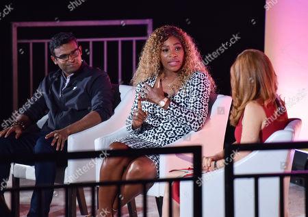 Stock Picture of Guru Gowrappan (CEO, Verizon Media), Serena Williams (Olympic Tennis Athlete & Entrepreneur) and Julia Boorstin (Entertainment & Media Correspondent, CNBC)