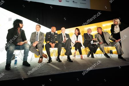 Stock Image of Nikki Sixx (Musician and Songwriter), Dr Grant Baldwin (Director of Overdose Prevention, CDC), Vice Admiral Jerome M. Adams, M.D., M.P.H. (U.S. Surgeon General), Robert Kramer (Sr. Chief Executive Officer, Emergent BioSolutions), Carolyn Cawley (President US Chamber Foundation, & VP, US Chamber of Commerce), John Hindman (Senior International & Public Affairs Advisor, Leidos) and Randy Grimes (Former NFL player)