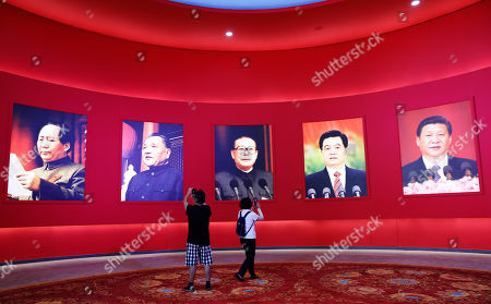 (L-R) Portraits of former Chinese leaders Mao Zedong, Deng Xiaoping, Jiang, Zeming, Hu Jintao, and current President Xi Jinping are seen on display at an exhibition marking China's achievements over 70 years ahead of the 70th anniversary of its founding in Beijing, China, 24 September 2019. China will celebrate the 70th anniversary of the founding of the People's Republic of China (PRC) on 01 October 2019.