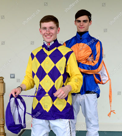 FAIRYHOUSE. Jockeys COLIN KEANE (front) and DONNACHA O'BRIEN ahead of racing are fighting out the jockeys title with Colin on 87 winners and Donnacha on 84 winners.