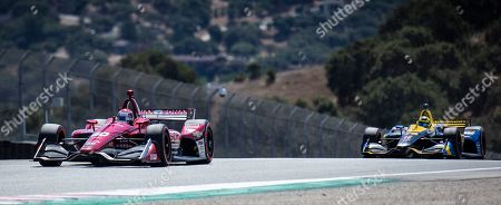 Stock Photo of Monterey, CA, U.S.A. Ed Carpenter Racing driver Ed Jones (20) and Andretti Autosport driver Zach Veach (26) in turn 7 Rahal straight during the Firestone Grand Prix of Monterey IndyCar Championship at Weathertech Raceway Laguna Seca Monterey, CA Thurman James / CSM