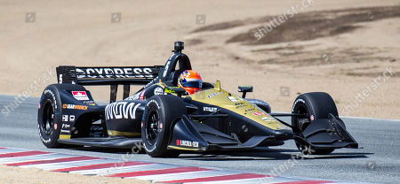 Stock Image of Monterey, CA, U.S.A. Schmidt Peterson Motorsports driver James Hinchcliffe (5) coming out of turn 6 during the Firestone Grand Prix of Monterey IndyCar Championship at Weathertech Raceway Laguna Seca Monterey, CA Thurman James / CSM