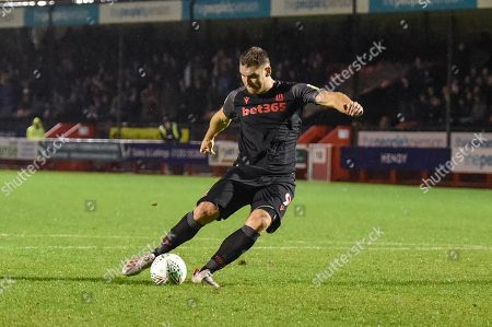 Sam Vokes(09) of Stoke City missis his penalty hits the cross bar