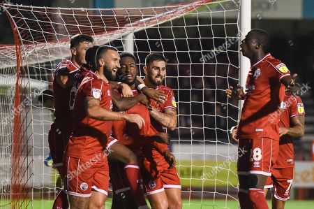 Stock Image of 24th September 2019, Broadfield Stadium, Crawley, England; EFL Carabao Cup Football, Third Round,  Crawley Town vs Stoke City : Ollie Palmer(9) of crawley town celebrates goal  Credit: Phil Westlake/News Images English Football League images are subject to DataCo Licence