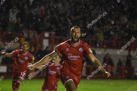 24th September 2019, Broadfield Stadium, Crawley, England; EFL Carabao Cup Football, Third Round,  Crawley Town vs Stoke City : Ollie Palmer(9) of crawley town celebrates his penalty to win the game for crawley Credit: Phil Westlake/News Images English Football League images are subject to DataCo Licence