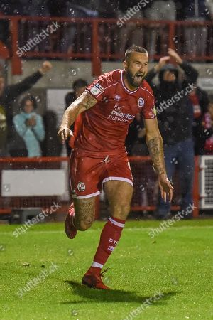 Stock Picture of 24th September 2019, Broadfield Stadium, Crawley, England; EFL Carabao Cup Football, Third Round,  Crawley Town vs Stoke City : Ollie Palmer(9) of crawley town celebrates the win Credit: Phil Westlake/News Images English Football League images are subject to DataCo Licence