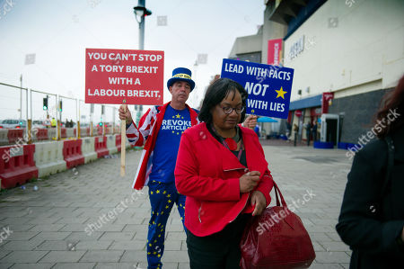 Diane Abbott is persued by anti Brexit and remain campaigner Steve Bray as she leaves the labour party conference
