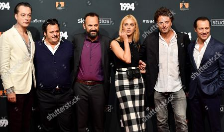 Stock Image of Italian actors Maurizio Lombardi, Antonio Gerardi, Paolo Pierobon, Miriam Leone, Guido Caprino and Stefano Accorsi pose for the media during the photo call for the Sky TV series '1994' in Rome, Italy, 24 September 2019.
