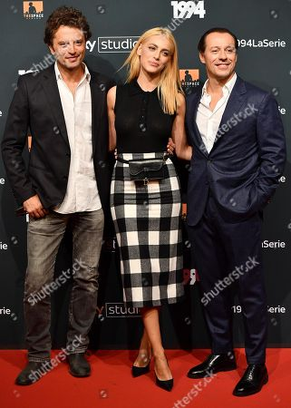 Guido Caprino (L), Miriam Leone (C) and Stefano Accorsi (R) pose for the media during the photo call for the Sky TV series '1994' in Rome, Italy, 24 September 2019.