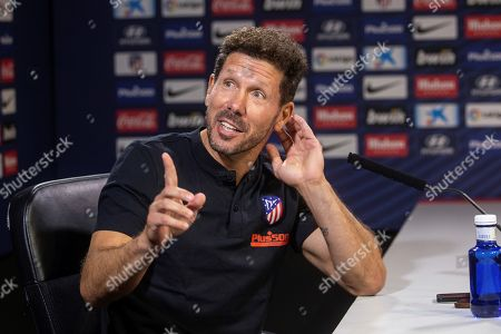 Atletico Madrid's Argentinian head coach Diego Simeone addresses a press conference after a training session at Wanda Sport City, in Majadahonda, outside Madrid, Spain, 24 September 2019. The team prepare for their upcoming La Liga match against RCD Mallorca on 25 September.
