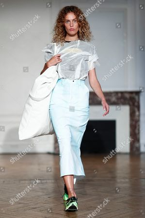 Models present creations from the Women Spring/Summer 2020 collection by French designer Pierre Kaczmarek and Italian designer Elena Mottola for Afterhomework during the Paris Fashion Week, in Paris, France, 24 September 2019. The presentation of the Women's collections runs from 23 September to 01 October.